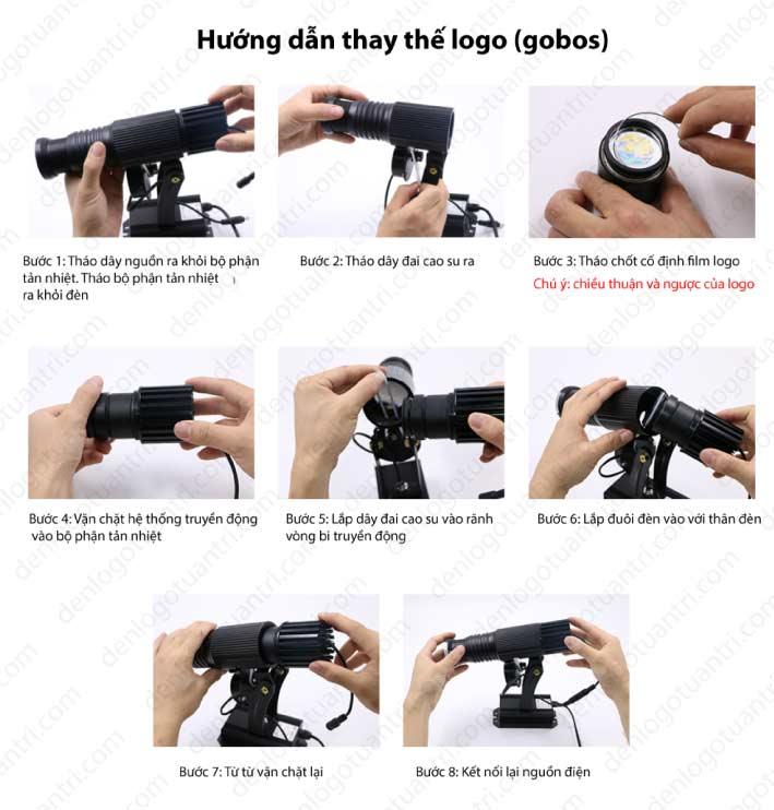 Hướng dẫn thay logo đèn chiếu logo